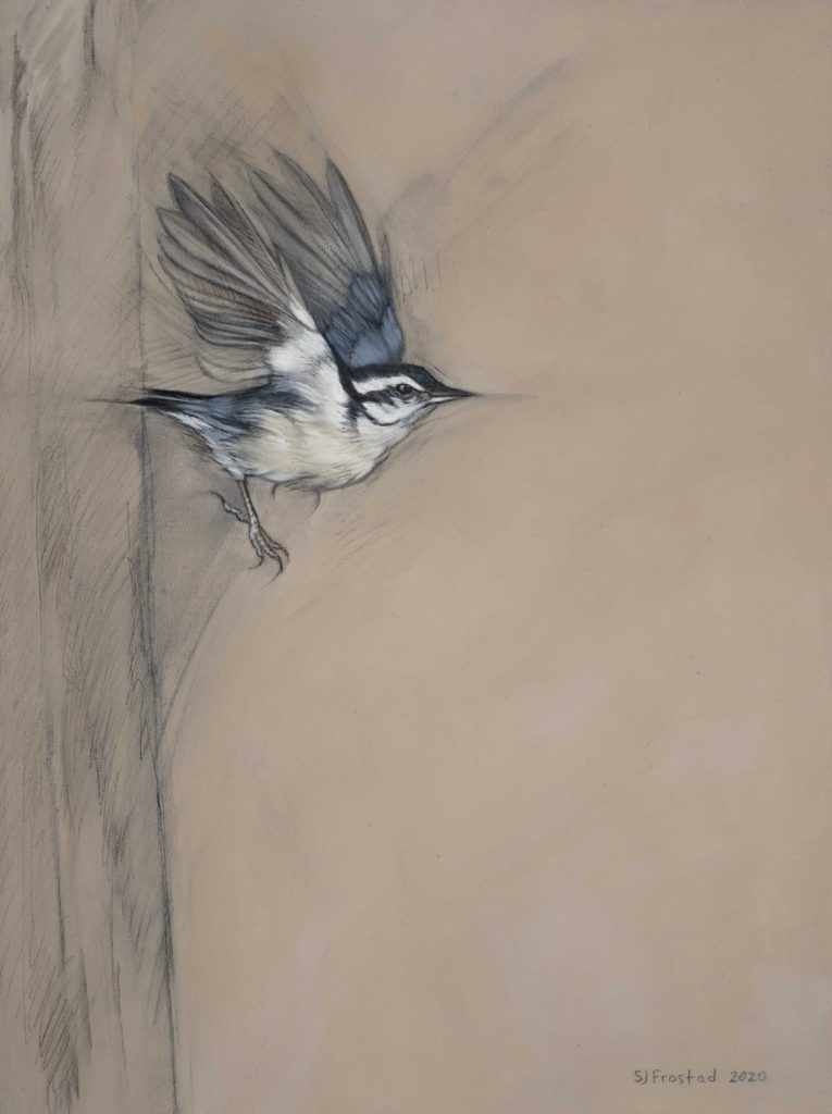 """Launch, 2020. Graphite & oil on wood panel, 12x9"""" Sold"""