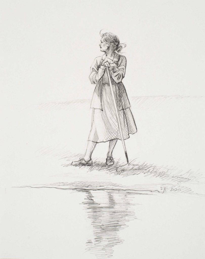 "Pond's Edge, 2020. Graphite on paper, 10x8"" Sold"