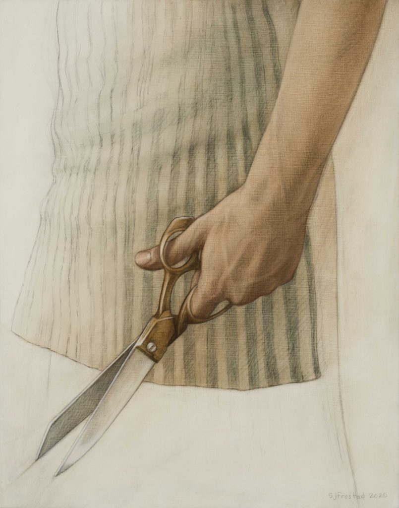 """Shears, 2020. Graphite & oil on wood panel, 14x11"""" Sold"""