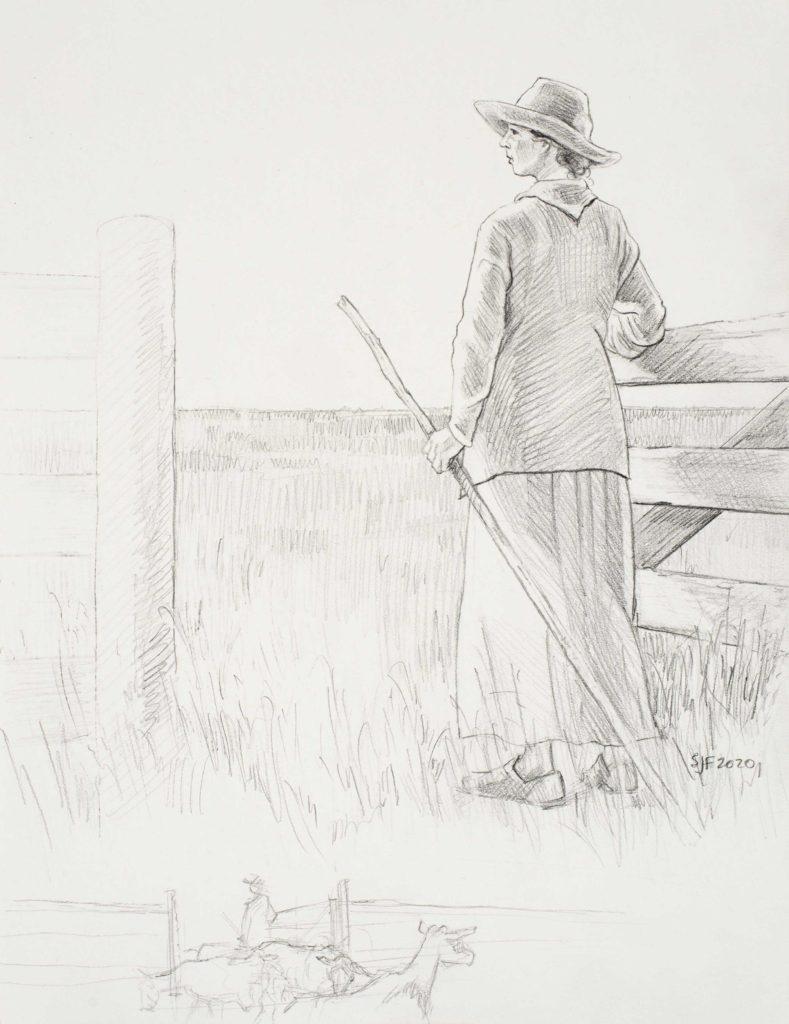 """Shepherd, 2020. Graphite on paper, 11x8.5"""" 200. (framed)"""