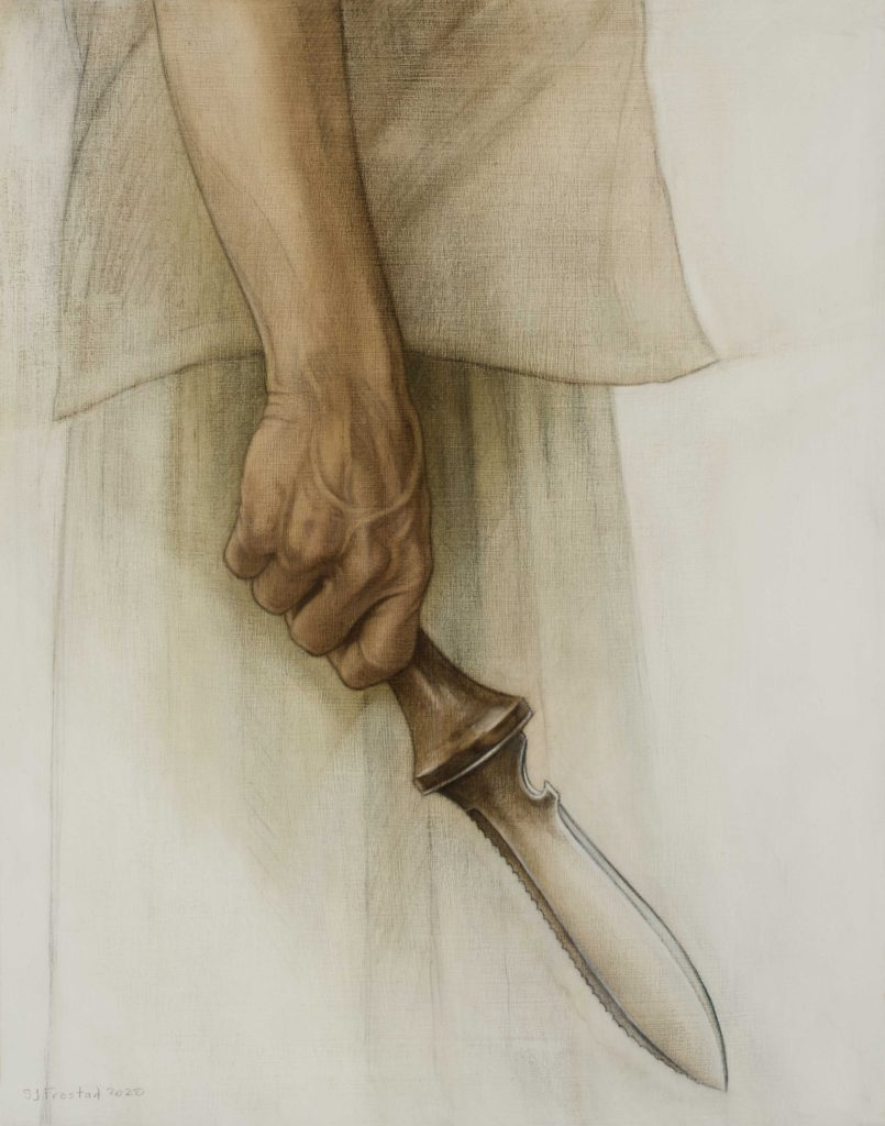 """Weeder, 2020. Graphite & oil on wood panel, 14x11"""" Sold"""