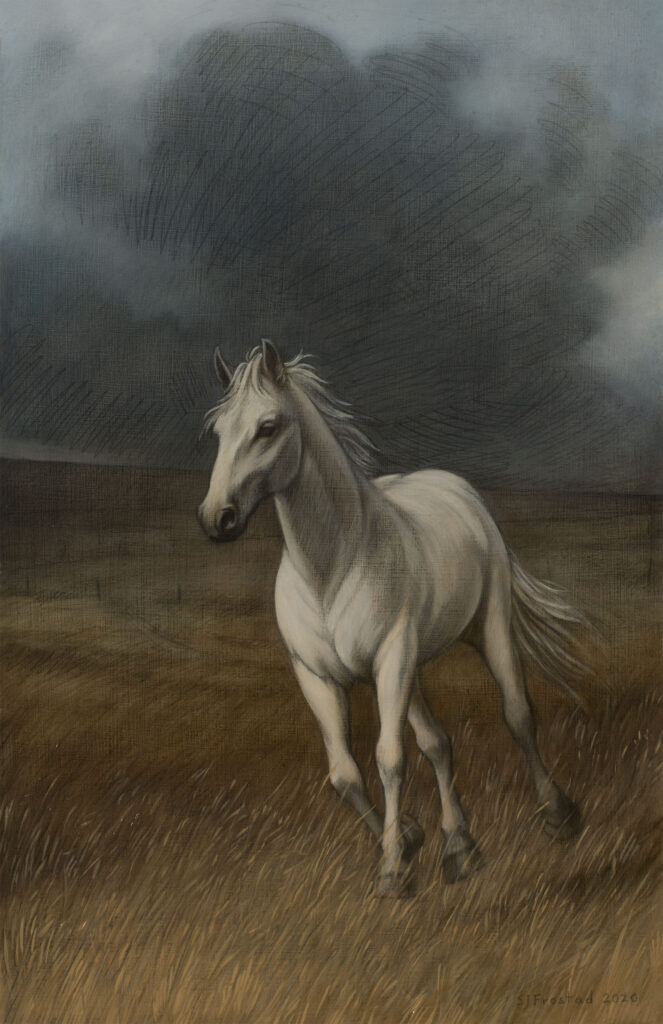 """Rampant (The Plague Horse), 2020. Graphite & oil on wood panel, 17x11"""" Sold"""