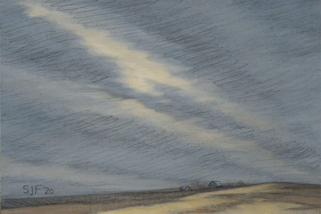 """Shelter in Place I, 2020. Graphite & oil on art board, 4x6"""" Sold"""