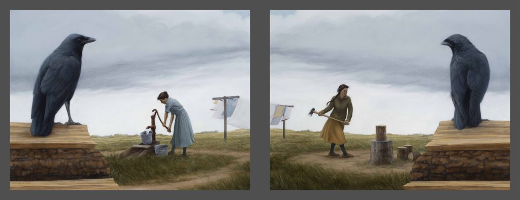 """Chop Wood, Carry Water, 2020. Graphite & oil on wood panels, each 18x24"""" Sold"""