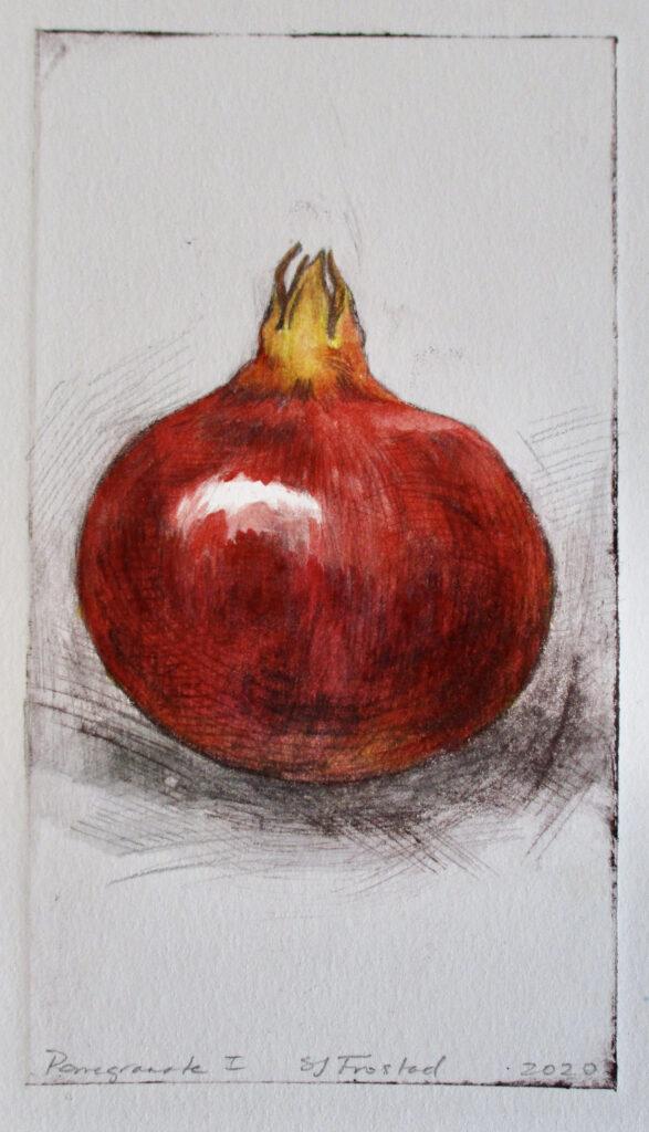 "Pomegranate I, 2020. Monoprint, 6.5x3.5"" Matted 40."
