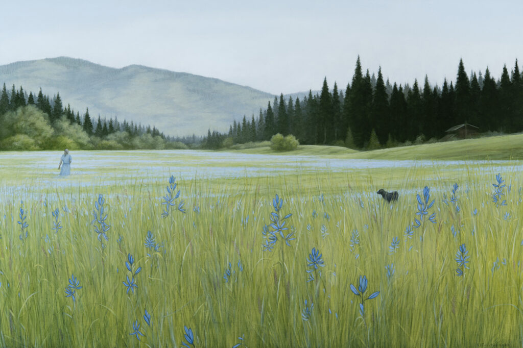 """Blue Camas Meadow, 2020. Graphite & oil on wood panel, 20x30"""" Sold"""