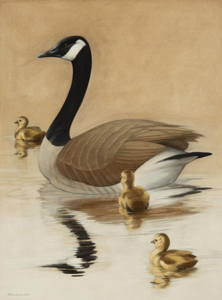 "Goose & Goslings, 2021. Graphite & oil on wood panel, 24x18"", 900."
