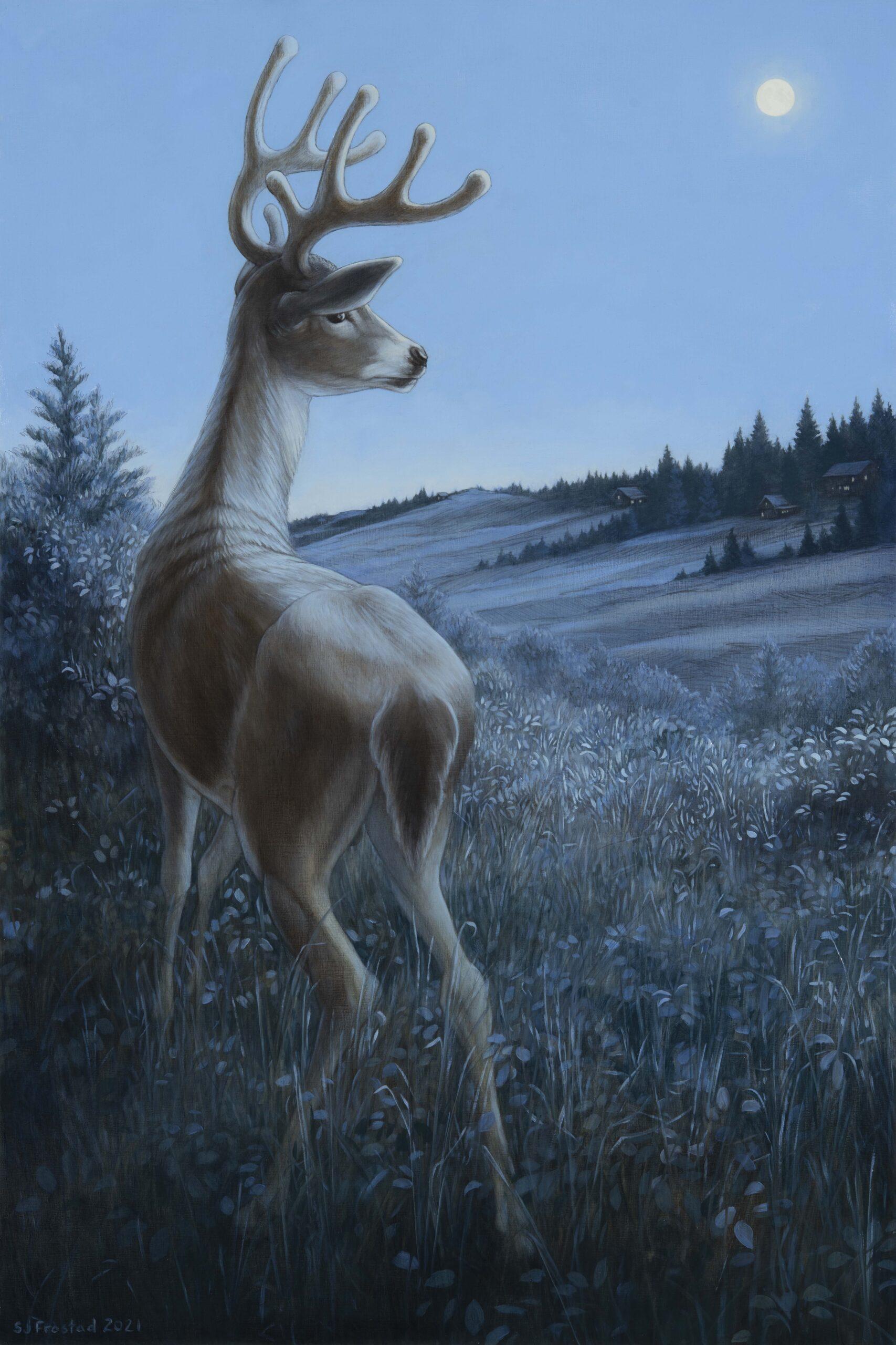 """Buck in Velvet, 2021. Graphite & oil on wood panel, 30x20"""". 2,400."""