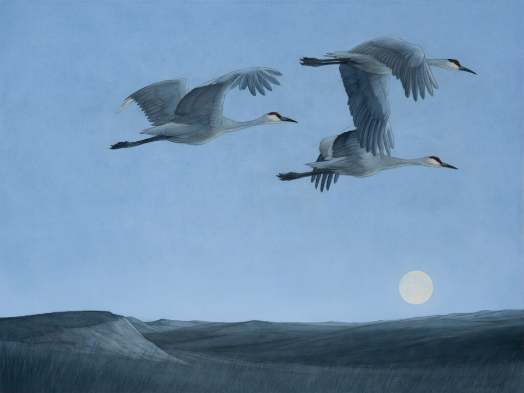 """Over the Moon, 2021. Graphite & oil on wood panel, 18x24"""". Sold"""
