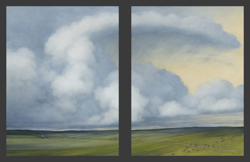 """Thunder Landscape with Farm Workers, 2021. Diptych: Graphite & oil on wood panels, each 24x18"""" (24x40"""" overall) 3,200 at TASG"""