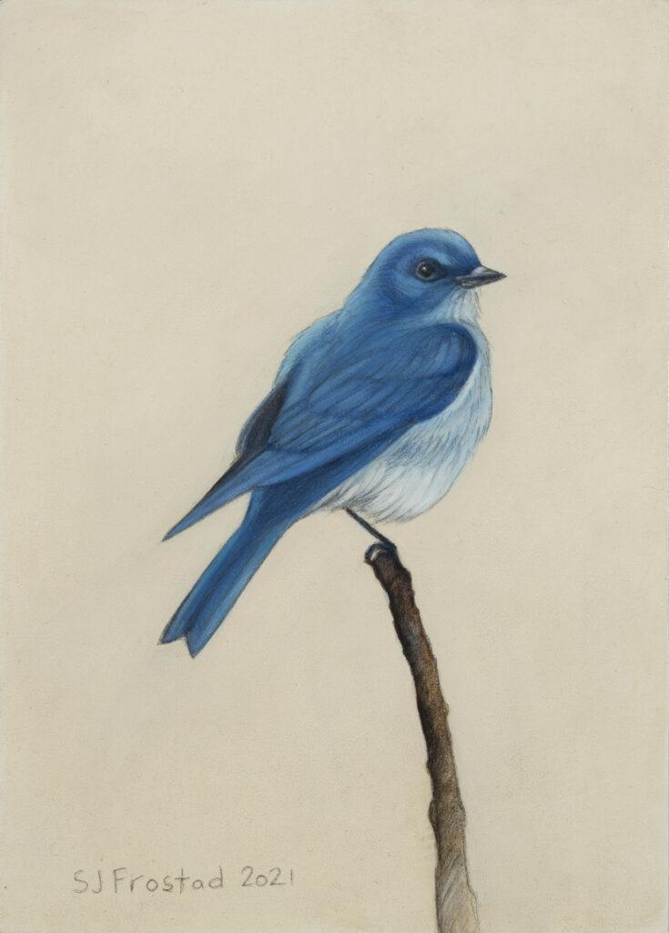 "Mountain Blue, 2021. Graphite & oil on wood panel, 7x5"" 150"