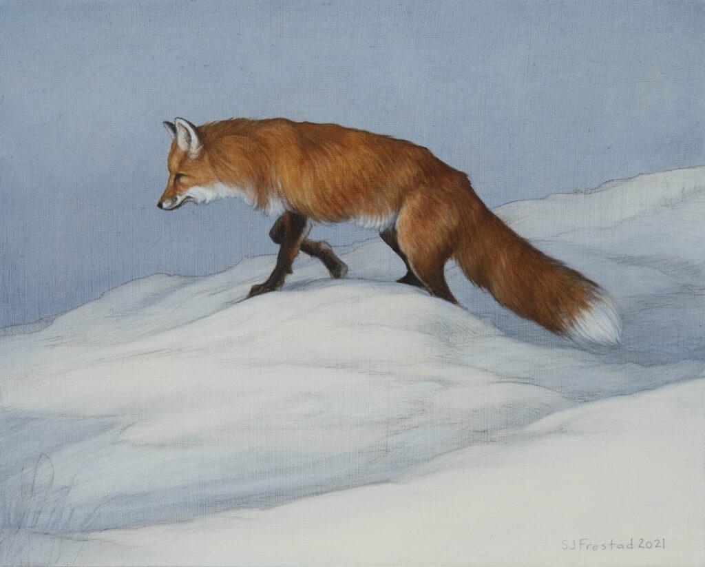 "Winter Fox, 2021. Graphite & oil on wood panel, 8x10"" 400"