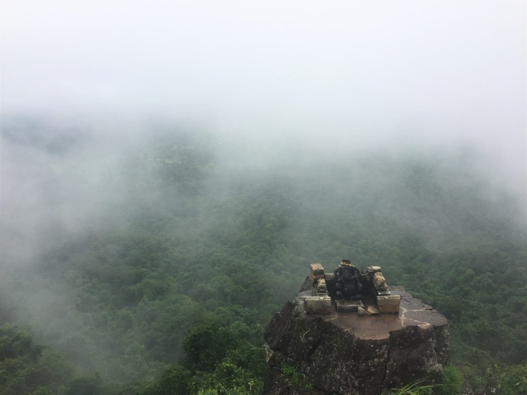 Dholkal peak covered with clouds during monsoon.