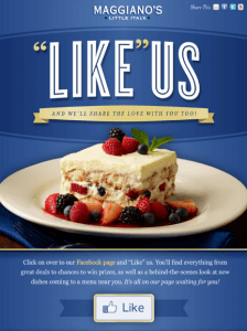 """Maggiano's """"Like"""" Us on Facebook"""