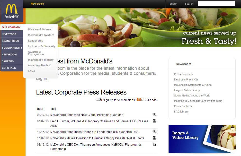 McDonalds Newsroom