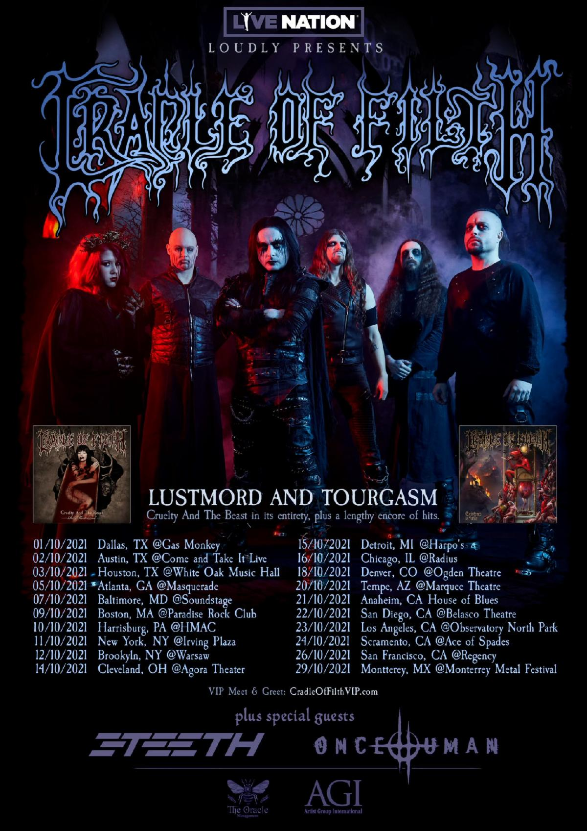 """CRADLE OF FILTH Makes North American Return with 'Lustmord and Tourgasm' Tour, Featuring Full Performance of """"Cruelty and the Beast"""""""