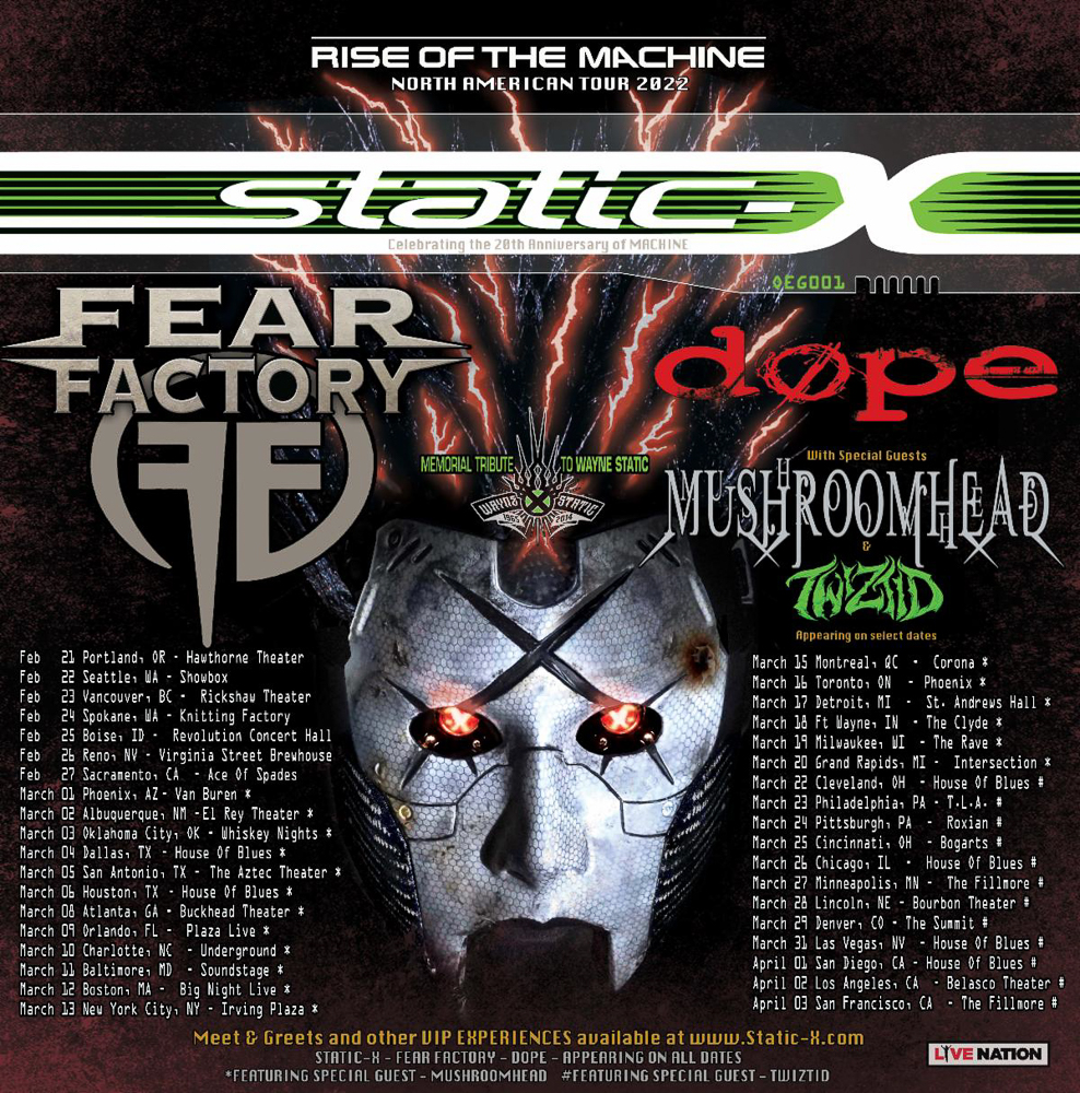 STATIC-X ANNOUNCE THE RISE OF THE MACHINE NORTH AMERICAN TOUR 2022