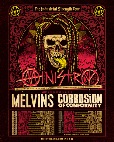 Ministry Move Upcoming Tour Dates To March & April 2022; The Melvins & Corrosion Of Conformity Join As Special Guests; Tickets On Sale Now, More Dates Announcing Soon