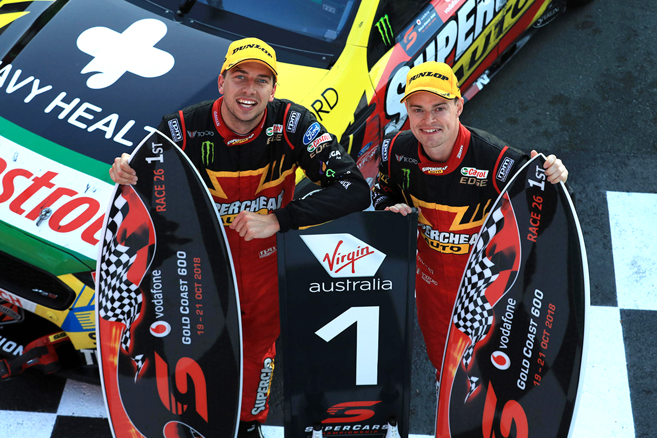 Chaz Mostert and James Moffat win Race 1 at the Gold Coast 600, 2018