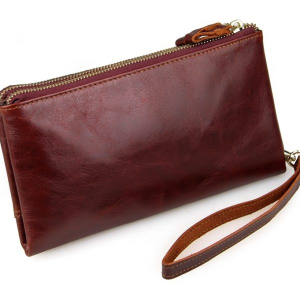 Classic Brown Red Vintage Leather Mini Wallet Purse