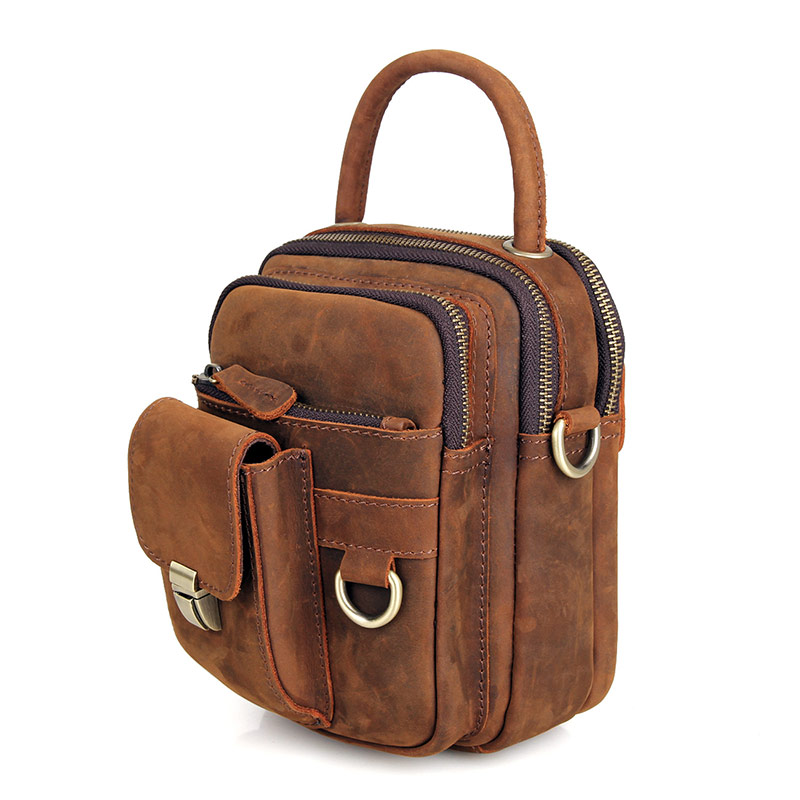 crazy horse leather durable small sling bags