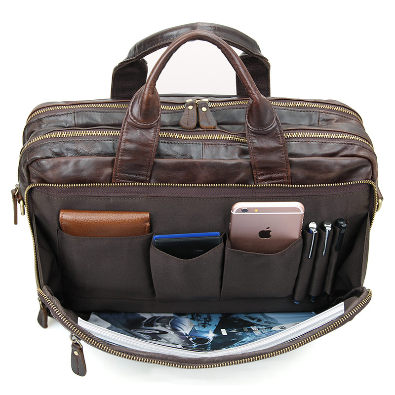 Leather Men's Coffee Briefcase