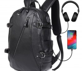 Leather Power and USB Function Backpack