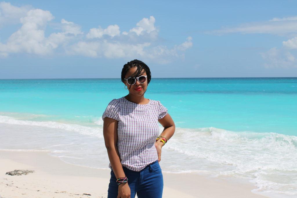 This Bahamian Gyal blogger, Rogan Smith poses near the Three Sisters beach in Exuma, The Bahamas