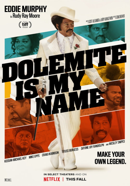 Dolemite Is My Name movie poster with Eddie Murphy's photo showcased prominently.