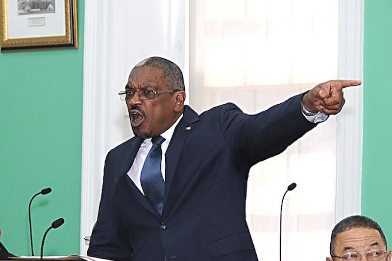 Image of Bahamas Prime Minister, Dr. Hubert Minnis pointing his finger in a session of Parliament