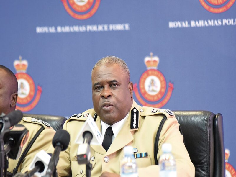 Former Royal Bahamas Police Force (RBPF) Commissioner, Anthony Ferguson speaks at a news conference.
