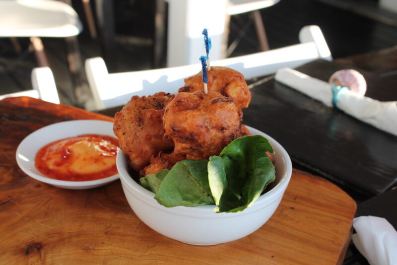 Traditional Bahamian conch fritters are served at a restaurant in The Bahamas.