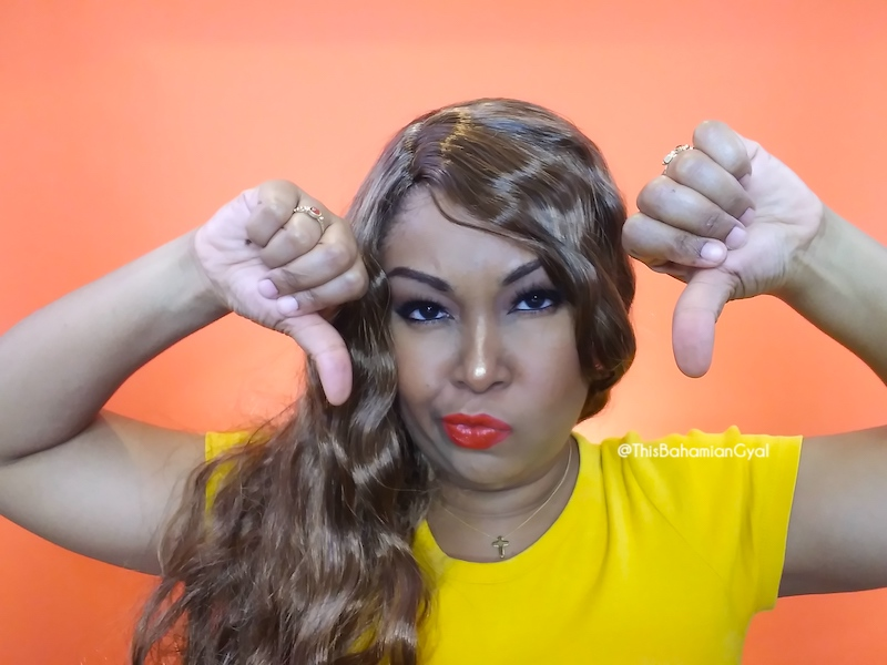 This Bahamian Gyal blogger, Rogan Smith was a victim of an online wig scam. Here she gives two thumbs down to one of the wigs she was sent by Cora Wigs/Devil Wigs.