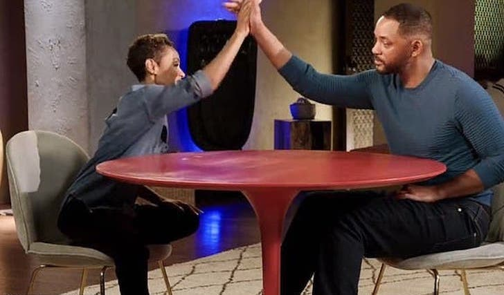 Jada Pinkett Smith hi-fives her husband, Will Smith on an episode of her talk show, Red Table Talk.