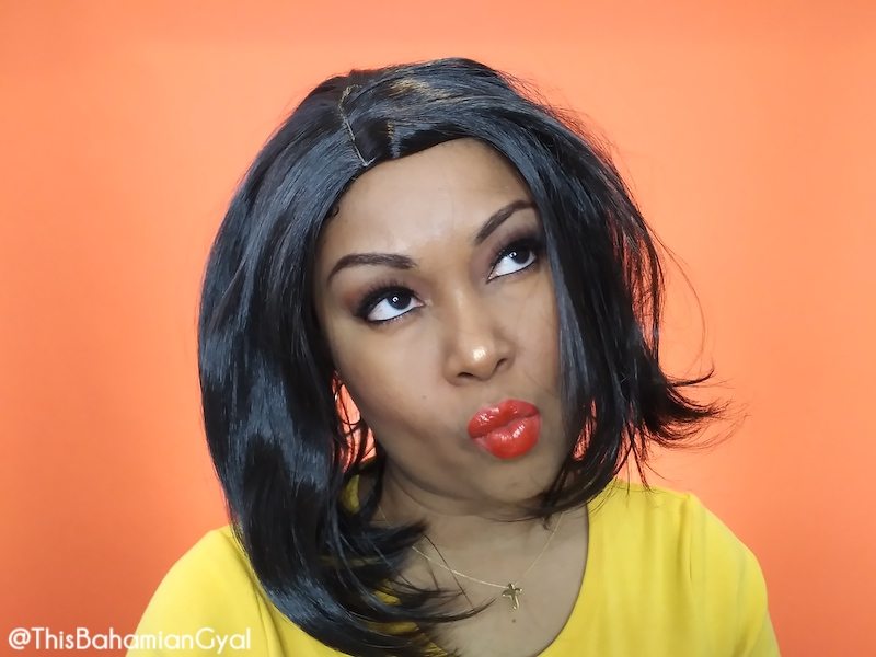 This Bahamian Gyal blogger, Rogan Smith was a victim of an online wig scam. Here she wears one of the wigs she was sent by Cora Wigs/Devil Wigs.