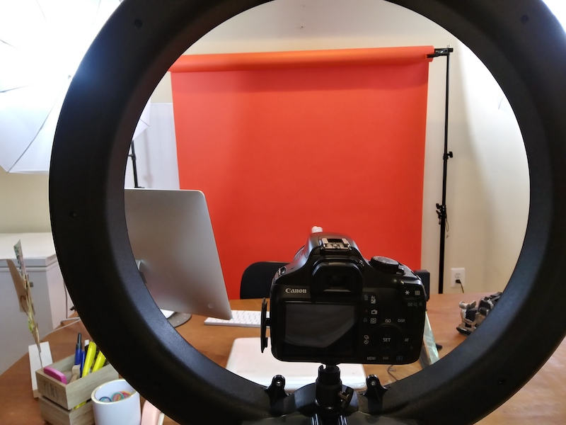 My Canon Rebel T3 camera sits on my ring light. This was one of the few times that I used my camera. I always use my cell phone to record my videos.