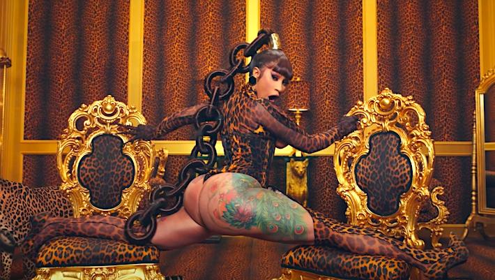 Cardi B. is shown in a split in her latest rap video, WAP.