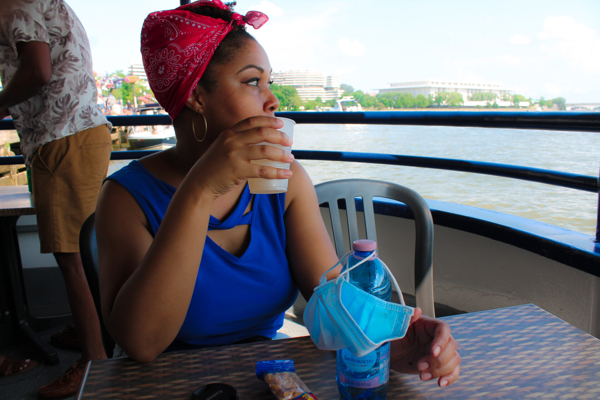 DC blogger, Rogan Smith sits on a boat during a tour of the Potomac River in Georgetown, DC.