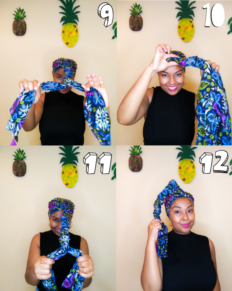 Images show how to tie a headscarf.