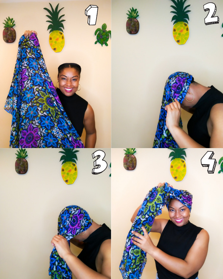 A step-by-step look at how to tie a head scarf.