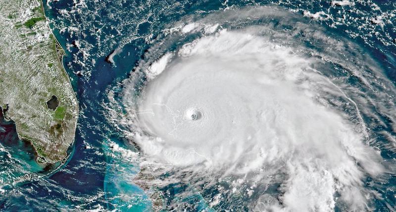 Satellite image of Hurricane Dorian over The Bahamas.