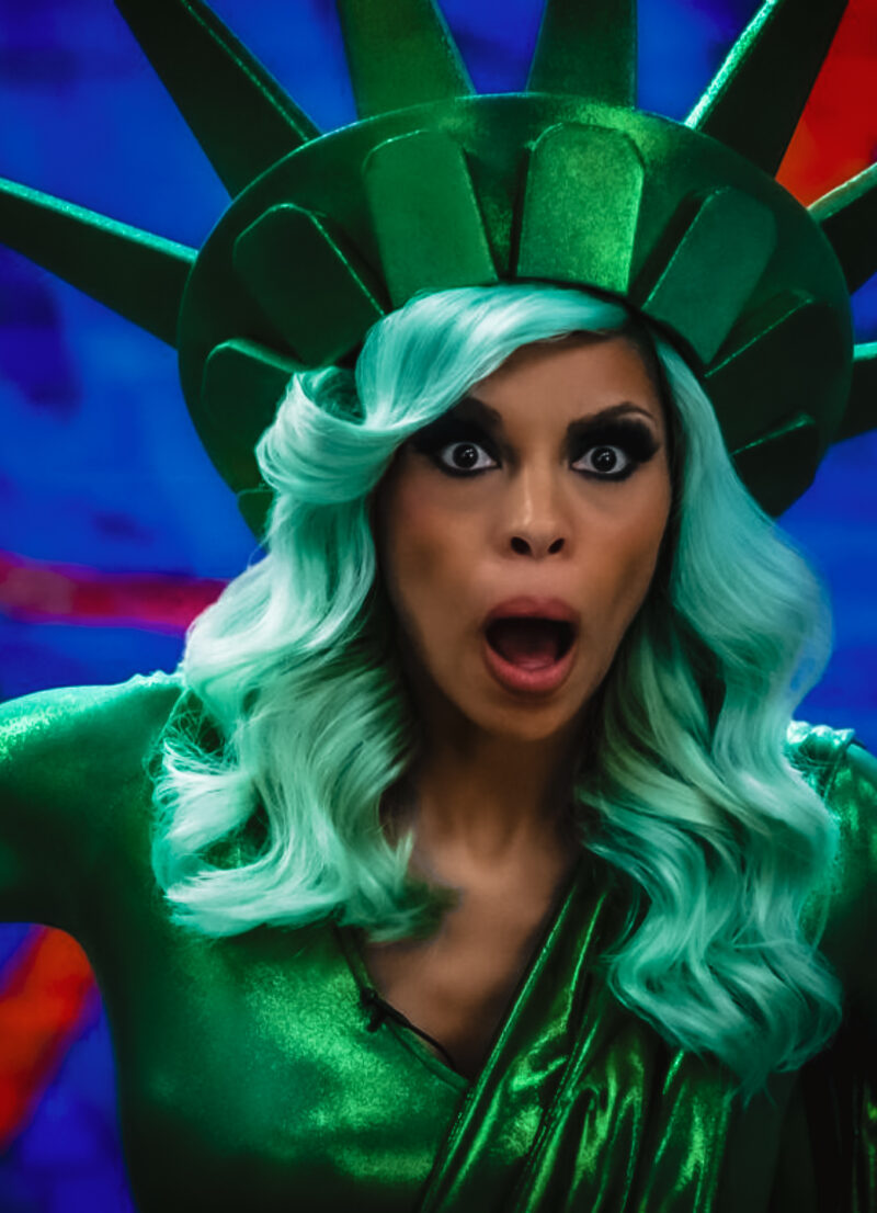 Actress Ciera Payton poses in a Statue of Liberty costume on the set of the Wendy Williams movie.