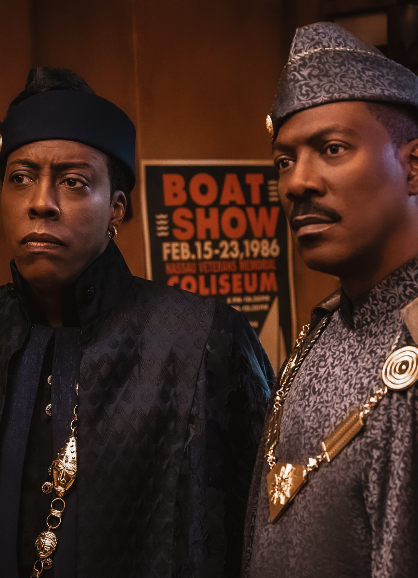 Actors Arsenio Hall and Eddie Murphy movie still from Coming 2 America