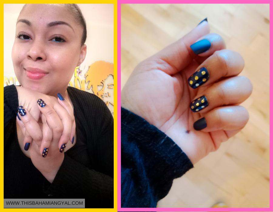 This Bahamian Gyal blogger, Rogan Smith shows off her KISS press on nails.