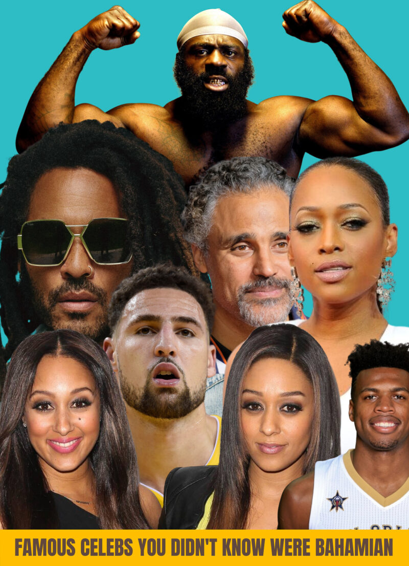 A collage of famous people who have Bahamian roots. Photo shows Lenny Kravitz, Tia and Tamera Mowry, Buddy Hield, rapper Trina, basketball legend, Rick Fox, Clay Thompson and Kimbo Slice