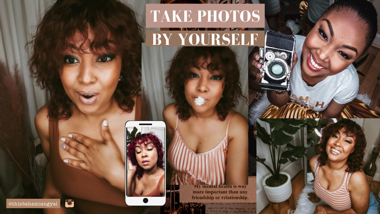 A collage of images showing a black female blogger posing for photos for Instagram