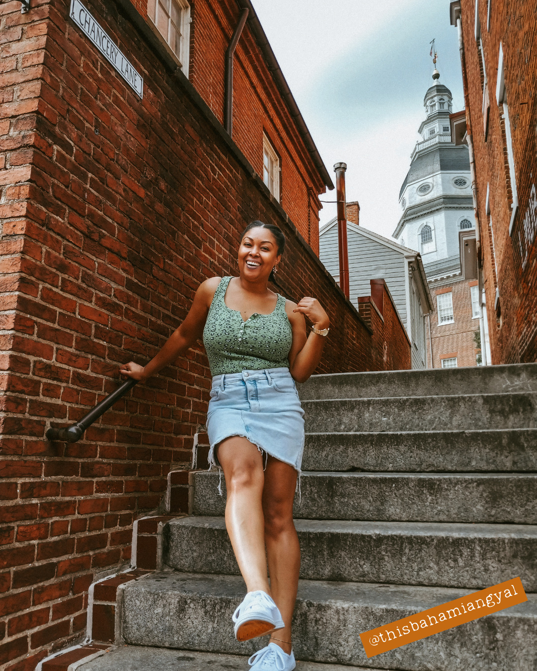 DC blogger Rogan Smith poses on steps in Annapolis Maryland