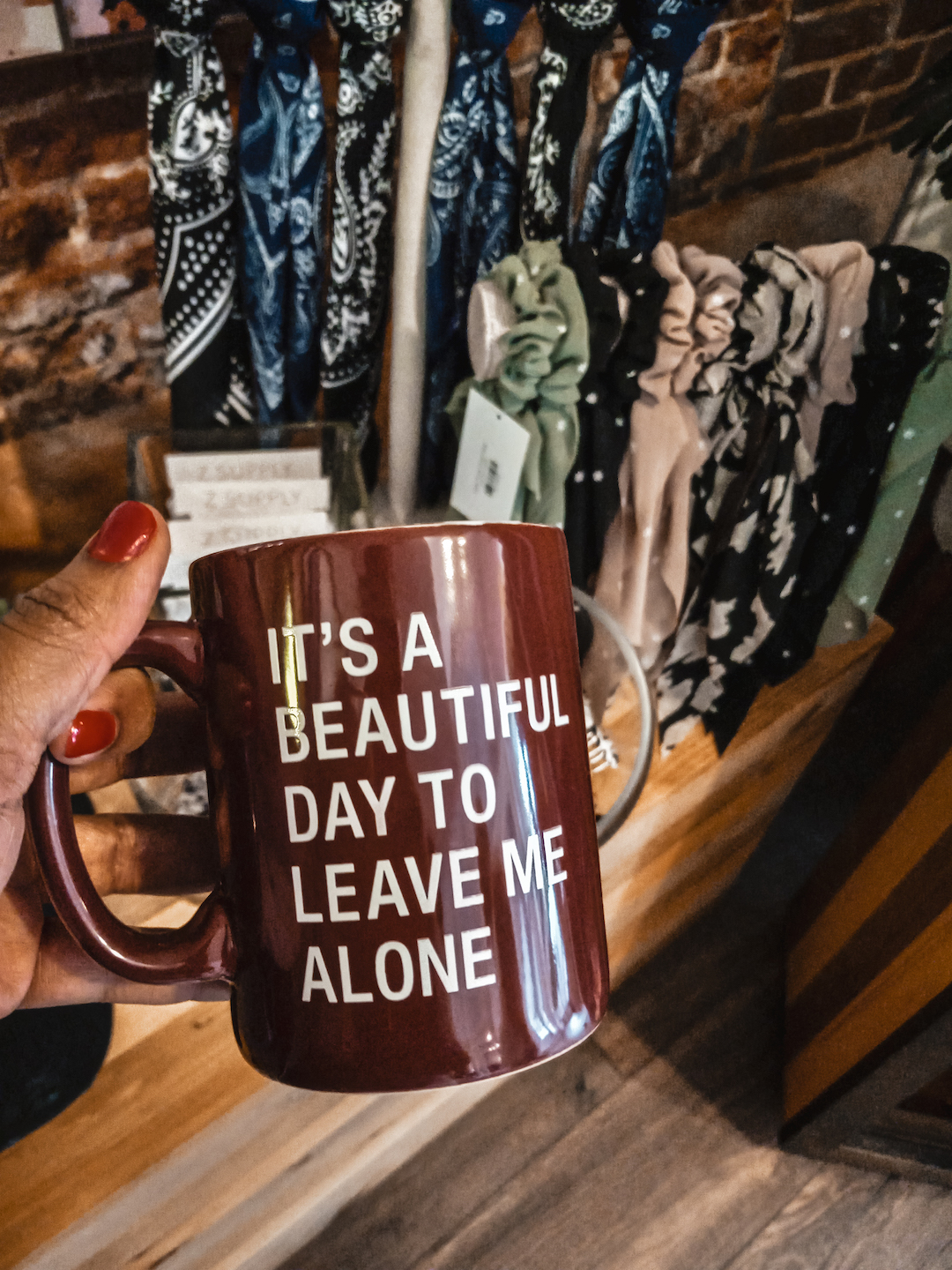 It's a beautiful day to leave me alone mug from Brightside Boutique