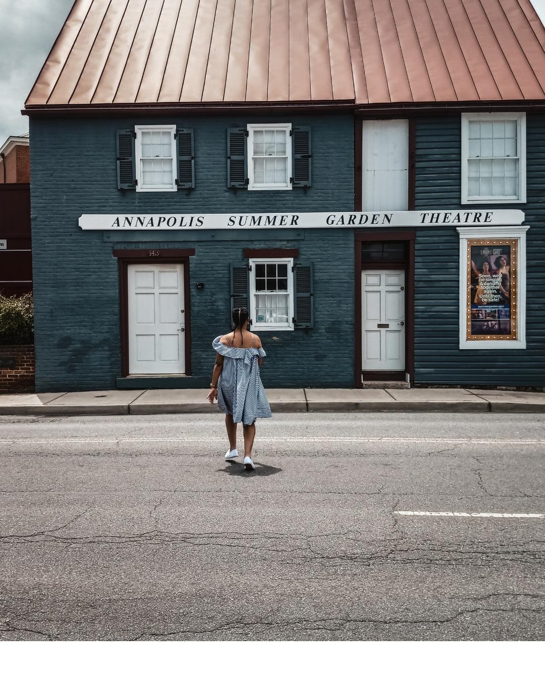 Washington DC lifestyle blogger Rogan Smith crosses the street in Annapolis Maryland