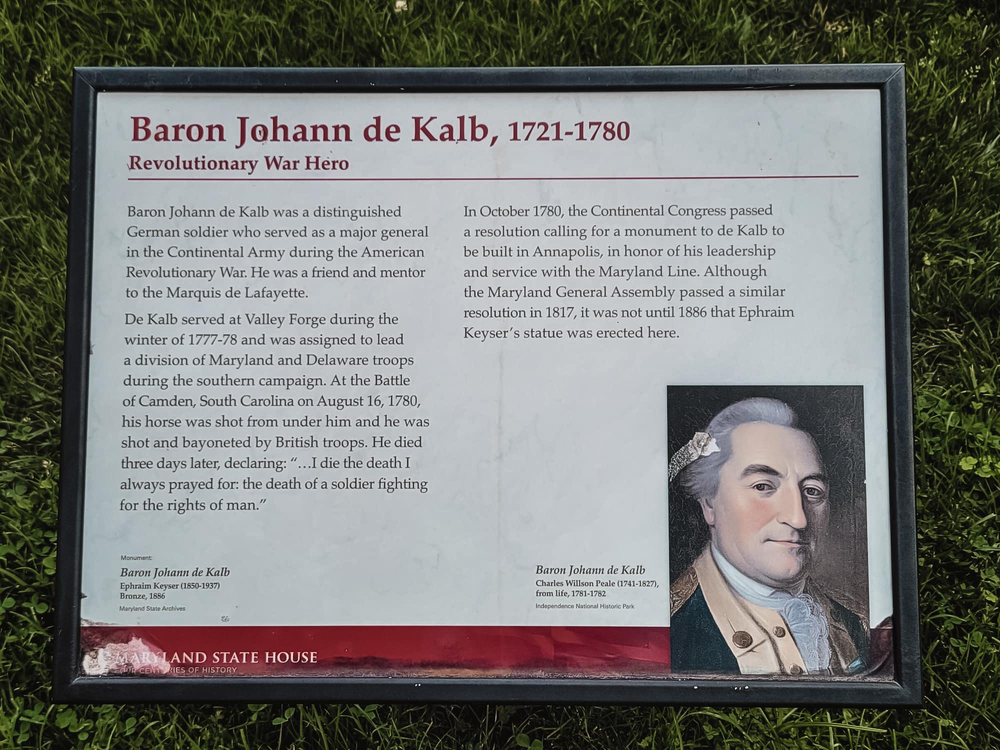 Plaque of Johann de Kalb in Annapolis Maryland